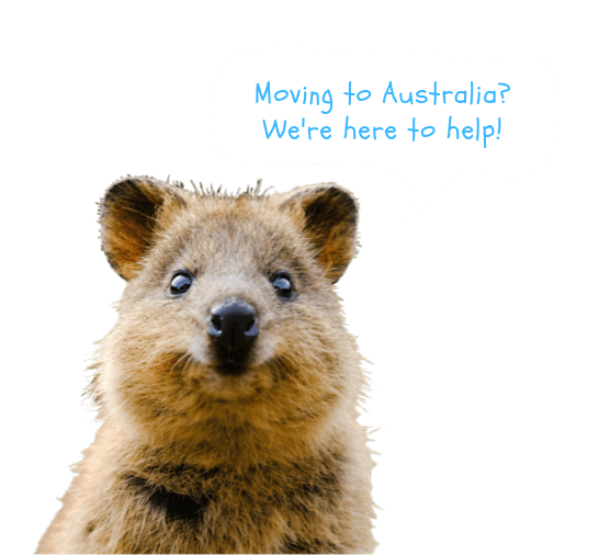 Speech bubble asking if you are moving to Australia